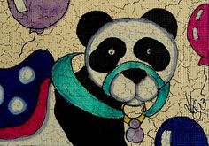 "Aceo Original ""CAROUSEL PANDA BEAR"" pencil/ink on canvas paper  ON EBAY"