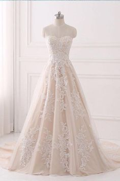 A-line Wedding Dresses,Lace Wedding Dress Champagne,Elegant Bridal Gown,Strapless Wedding Gown - Wishingdress Strapless Lace Wedding Dress, Strapless Prom Dresses, Sweetheart Prom Dress, Elegant Wedding Dress, Perfect Wedding Dress, Tulle Wedding, Dress Wedding, Champagne Wedding Dresses, Elegant Gown