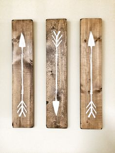3 Piece - White Arrow Painting on Wood