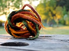 Felt Rope Cord Strings Felted Wool Dreads Fall Autumn Earthy Colors Brown Orange Yellow Green Set of 3 Long Necklace Belt Hair Headband on Etsy, $35.00