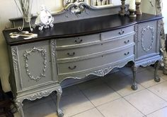 General Finishes Empire Gray Chalk Style Paint Buffet | Created by Jenny of Rustic Roots