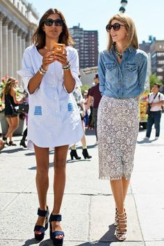 good shirtdress & a denim and lace combo from #SarahRutson. NYC.