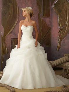 73b21c9dbe5c Sorprendente Cuore Palloncino Organza Senza Maniche Coda a Strascico Corto  Perline Abiti da sposa Vestito Da