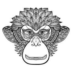zentangle: Doodle frontal cara vista mono con el ornamento decorativo ilustración vectorial negro Vectores