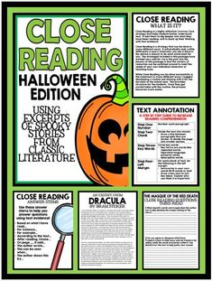 Close Reading for Middle School Students: Halloween Edition. Featuring excerpts from spooky stories from classic literature!
