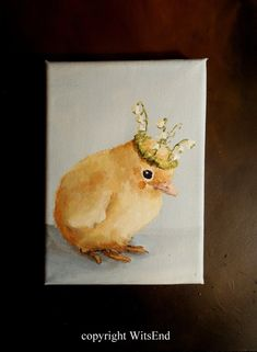 'LILYBELLE'.  Baby Chick painting original still life art  by 4WitsEnd, via Etsy