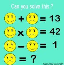 Solve this smiley face fun problem Logic Math, Math Quizzes, Math Resources, Math Activities, Math Games For Kids, Fun Math, Kids Fun, Logic Problems, Math Challenge