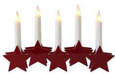 Best Season LED Fensterleuchter 5 rote Sterne 5 weiße Kerzen Batterie Weihnachten Dekoration | led-trends24