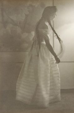 ca.1940s - Tasha Tudor photographed by her friend Nell Dorr | Tasha Tudor was known for her love of historical 19th-C. clothing that she preferred to wear in her daily life | Tasha Tudor Day is August 28th