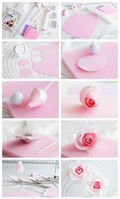 Gum Paste Rose Step-by-Step Tutorial                                                                                                                                                     More #Sugarflowers