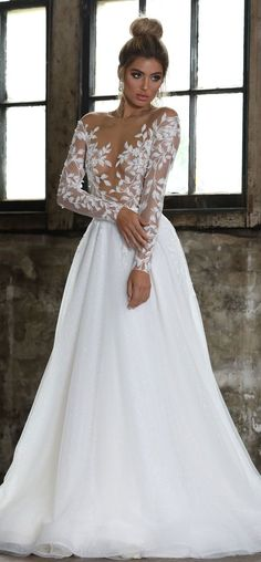 Long sleeves illusion neckline a line ball gown wedding dress #weddingdress #weddinggown