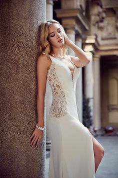 """The 2017 """"Milano"""" bridal collection by Eddy K. features delicately beautiful wedding dresses with a sophisticated city flair that is inspired by Ball Dresses, Bridal Dresses, Ball Gowns, Bridesmaid Dresses, Mod Wedding, Tulle Wedding, 2017 Wedding, Unconventional Wedding Dress, V Neck Wedding Dress"""