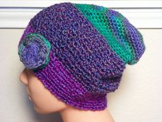 Flower Beanie Slouchy Hat Woman Free by atouchofsourcemagic, $27.00