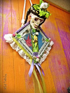 Frida Kahlo Sugar Skull The Day Of The Dead OOAK mixed media art mirror wall home decor by WiLd PeArLy.