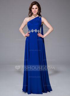 A-Line/Princess One-Shoulder Floor-Length Chiffon Prom Dress With Ruffle Beading (017041048) - JJsHouse