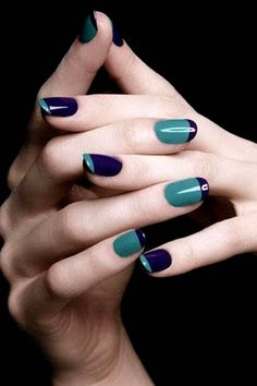 Cool looking inverse French tips. Play around with midnight blue and blue green matte colors on your nails. Use the opposite colors as the tip for each nail and have an awesome color combination emerging from the ensemble.