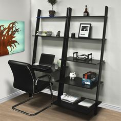 Leaning Shelf Bookcase With Computer Desk Home Office Furniture Workspace New Computer Desks For Home, Home Desk, Home Office Desks, Home Office Furniture, Office Den, Computer Laptop, Office Style, Small Computer, Furniture Plans