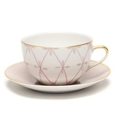 Hand-painted French Limoges Porcelain by Marie Daage. Collection: Tambourin Cup & Saucer, Marron Glace, & Camelia.