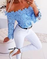 Off Shoulder Lace Top Blue womens clothes online, womens fashion, cheap clothing stores, boohoo, Women Clothing Look Fashion, Fashion Outfits, Womens Fashion, Blue Fashion, Paris Fashion, Fashion Weeks, Cheap Fashion, Fall Fashion, Beste Jeans