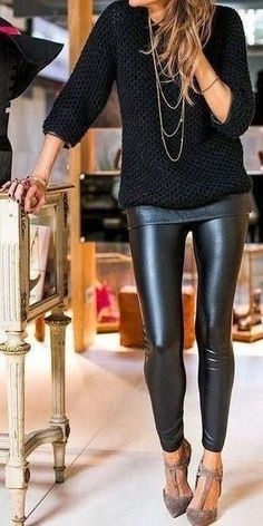 These faux leather leggings will go perfectly with all your new tunics this fall! These leggings are soft with an elastic waistband and have great stretch to them. If in-between sizes, size up. Winter Mode Outfits, Cute Winter Outfits, Winter Fashion Outfits, Night Outfits, Stylish Outfits, Fall Outfits, Fashion Ideas, Unique Fashion, Outfit Winter