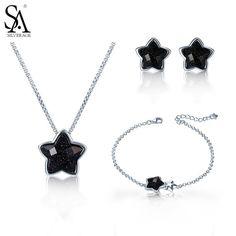 SA SILVERAGE 925 Sterling Silver Star Jewelry Sets Stud Earrings Necklaces Pendants Chain Bracelet for Women 2017 Hot Sale