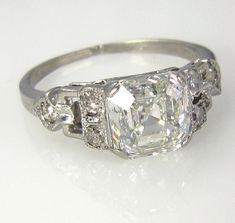 Art Deco 2.00ct Antique Vintage GIA Asscher Cut Diamond Engagement Ring in PLATINUM, Circa1920