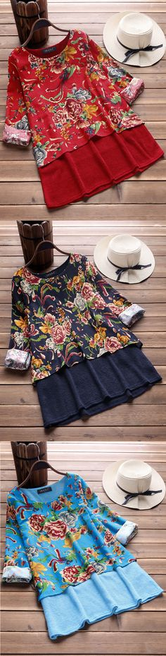 UP TO 48% OFF! Women Floral Printed Two Layers O-neck Vintage T-shirts. SHOP NOW!