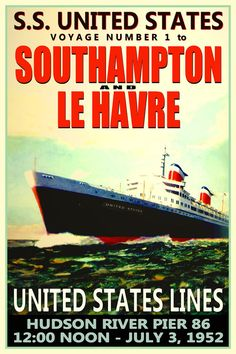SS UNITED STATES Maiden Voyage New Retro Poster 24x36 by PosterDog, $45.00