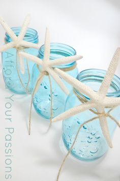 Blue Mason Jars with starfish and twine