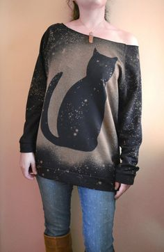 Cat Sweatshirt, Galaxy Cat Sweater, Black Cat Shirt, Slouchy Sweater - Hand Dyed Bleached Shirt - Womens Sweatshirt - Christmas for Her