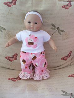 American Girl or Bitty Baby pink ruffle cupcake outfit with applique. $15.00, via CrystalsExpressions on Etsy