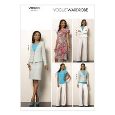 Vogue Misses' Jacket, Top, Dress, Skirt and Pants Pattern V8963 Size A50 from @fabricdotcom  Pattern is for size A5. <br><a href=https://s3.amazonaws.com/fabric-pdf/Vogue+Pattern+Backs/V8963back.pdf>Click here for pattern back.</a> <br>