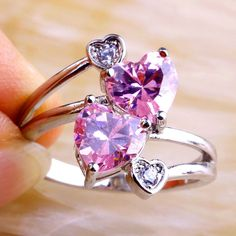 Heart Shaped Pink Topaz and White Sapphire Ring