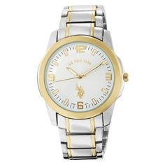 U.S. Polo Assn. Men's USC80031 Two-Tone Silver Dial Metal Link Watch U.S. Polo Assn.. $21.99. Gold arabic numerals 12 and 6 with gold-tone and luminous stick markers and other printed indicators on silver dial. Gold logo. 3-Hand Analog-Quartz movement. Round silver-tone case with gold bezel. Luminous hour and minute hands. Mineral crystal