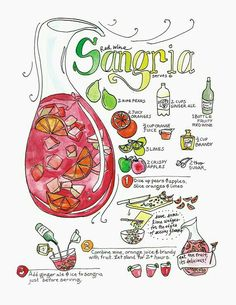 This is an illustrated recipe for a refreshing sangria. Small illustrations tell certain steps in the preparation. This is an art print from the cookbook that Marcella wrote and illustrated, Mi Comida Latina. The book has 140 pages, hand-labeled, based Sangria Cocktail, Sangria Wine, Vodka Cocktails, Vodka Martini, Summer Cocktails, Comida Latina, Alcohol Drink Recipes, Food Journal, Recipe Journal