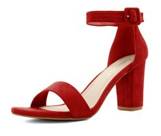 Red sandals with a chunky heel and an ankle strap.