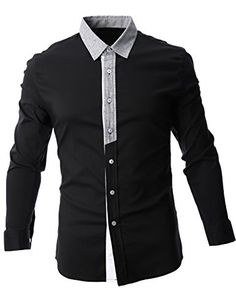 FLATSEVEN Mens Contrast Collar Long Sleeve Casual Shirt (SH1011) Black, M FLATSEVEN #menswear #mens fashion #Chirstmas #mens clothing #shirts #mens shirts #casual shirts