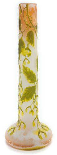 GALLÉ OVERLAY GLASS TALL VASE . Yellow, peach and green glass in asycamore motif, circa 1900. Marks: Gallé (cameo) . 17...