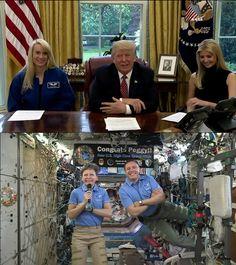 NASA astronauts Peggy Whitson and Jack Fischer speak to President Trump
