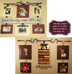 frame rod picture grouping How to hang pictures with iron and ribbon