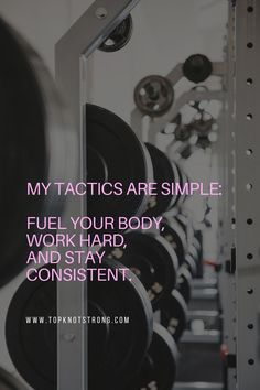 It's all about how you fuel your body, how you work, and how you stay consistent. Let Top Knot Strong help you prep for your bikini competition without starving or spending hours in the gym. Bodybuilding Motivation Quotes, Bikini Competitor, Top Knot, Workout Programs, Knots, Motivational Quotes, Strong, Simple, Competition