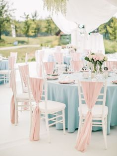 Wedding table setting, textile in colours: Serenity & Rose Quartz Pink Table Settings, Wedding Table Settings, Wedding Chairs, Wedding Reception, Table Wedding, Chair Decor Wedding, Wedding Ideas, Blue And Blush Wedding, Dusty Blue Weddings