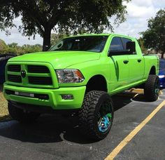 Lime green lifted Dodge Ram