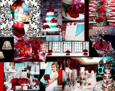 A red, black and teal wedding ... oh, the possibilities!