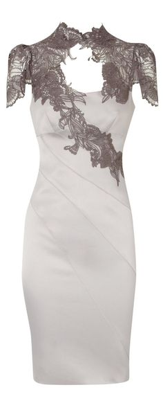 Karen Millen Floral Applique Lace Neck Dress