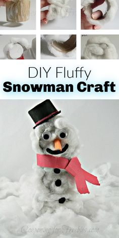 Need a fun winter craft for the kiddos to do? This DIY fluffy snowman is cute and easy to make. Chances are you have the supplies too! Snowman Crafts, Jar Crafts, Fun Games For Kids, Activities For Kids, Projects For Kids, Crafts For Kids, Black Construction Paper, Kid Check, Paper Place