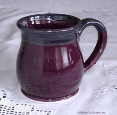 Coffee mug, Pottery Round belly coffee cup, Aubergine Purple, Kitchen, tea cup handmade Ceramic. $19.00, via Etsy.