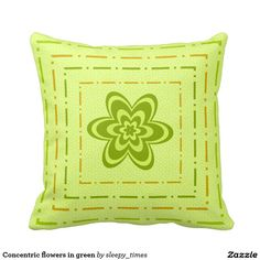Concentric flowers in green pillow #pillow #flower http://www.zazzle.com/concentric_flowers_in_green_pillow-189486733391710763