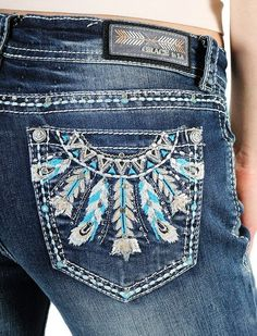 Show off your western attitude in a pair of these embellished jeans by Grace in L.A.! These ultra sparkly jeans have a slim-fitting silhouette that flatters all body types (Easy Fit). Their durable de