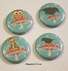 Magnetset - 4 Magnete Pilz,Eule,Affe,Vogel,2,5 cm  von ღKreawusel-Designღ auf DaWanda.com
